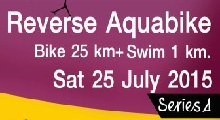 Reverse Aquabike bike 25 k+ swim 1 k Team Relays 25 July 2015
